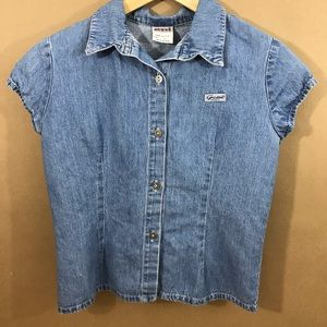 VTG GUESS jean button down shirt